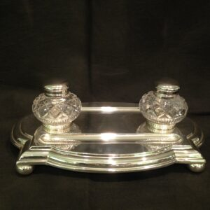 Silver plated  double inkstand