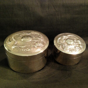 A pair Antique Chinese Export Sterling Silver Boxes.