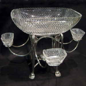 AAA+ Silver Georgian (Regency)centre piece with cut crystal.
