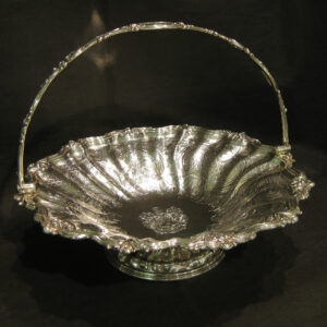 Large finely chased silver fruit bowl/basket.