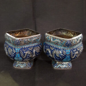 Oriental Silver and Enamel bowls /incense burners.