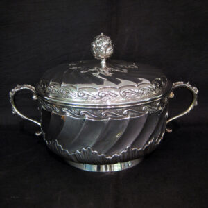 Ornate Dutch silver bowl with cover.