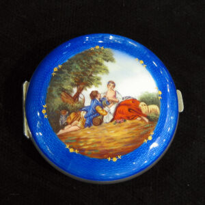 Guilloche hand painted enamel on silver compact