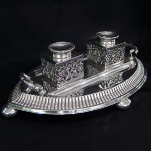 Sterling silver double ink stand by Robert Pringle & sons.