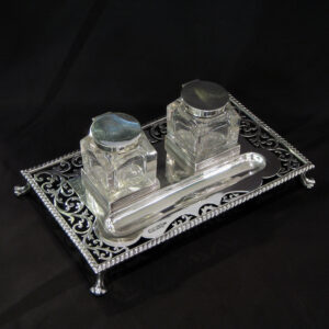 A Silver Double inkstand by Walker & Hall.
