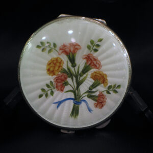 Silver and enamel hand painted compact
