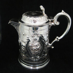 A rare silver plated beer flagon