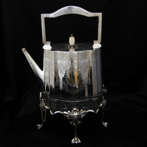Sheffield plate hand chased kettle on stand with warmer.