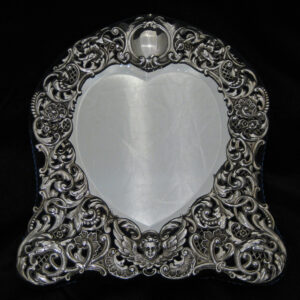 Beautiful Heart shaped silver table mirror By Goldsmith & Silversmiths