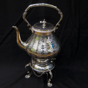 Sheffield plate kettle on stand