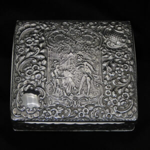 Wonderful quality chased silver jewellery box.