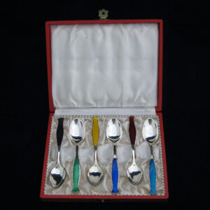 Set of 6 enameled silver spoons.(boxed)