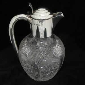 Sterling silver crystal claret jug by William Hutton